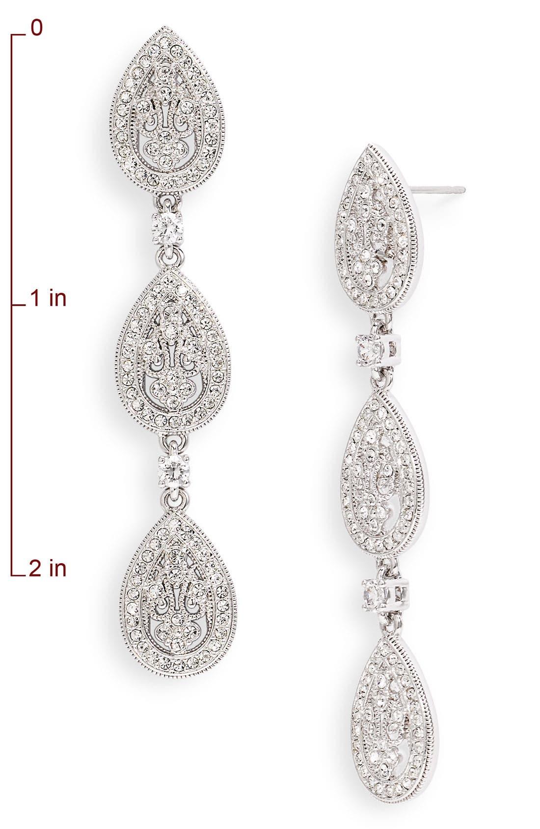 Alternate Image 2  - Nadri Crystal Teardrop Linear Earrings