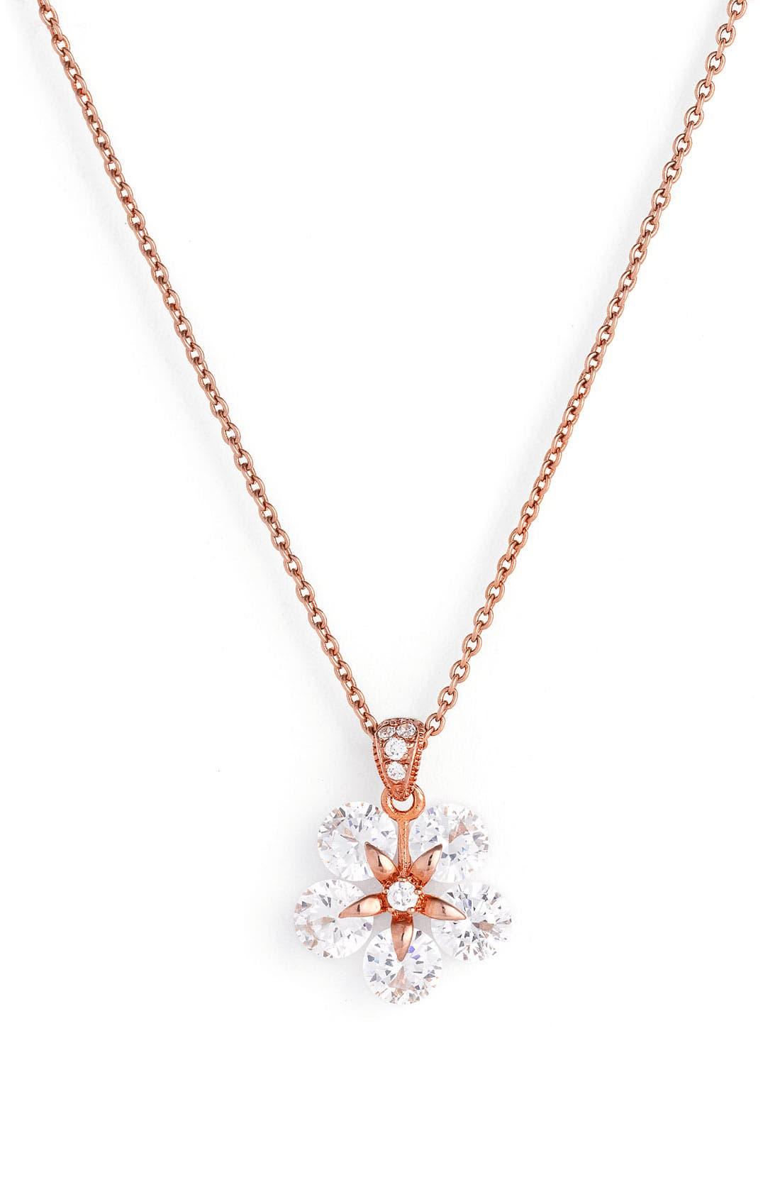 Alternate Image 1 Selected - Nadri Cubic Zirconia Flower Pendant Necklace