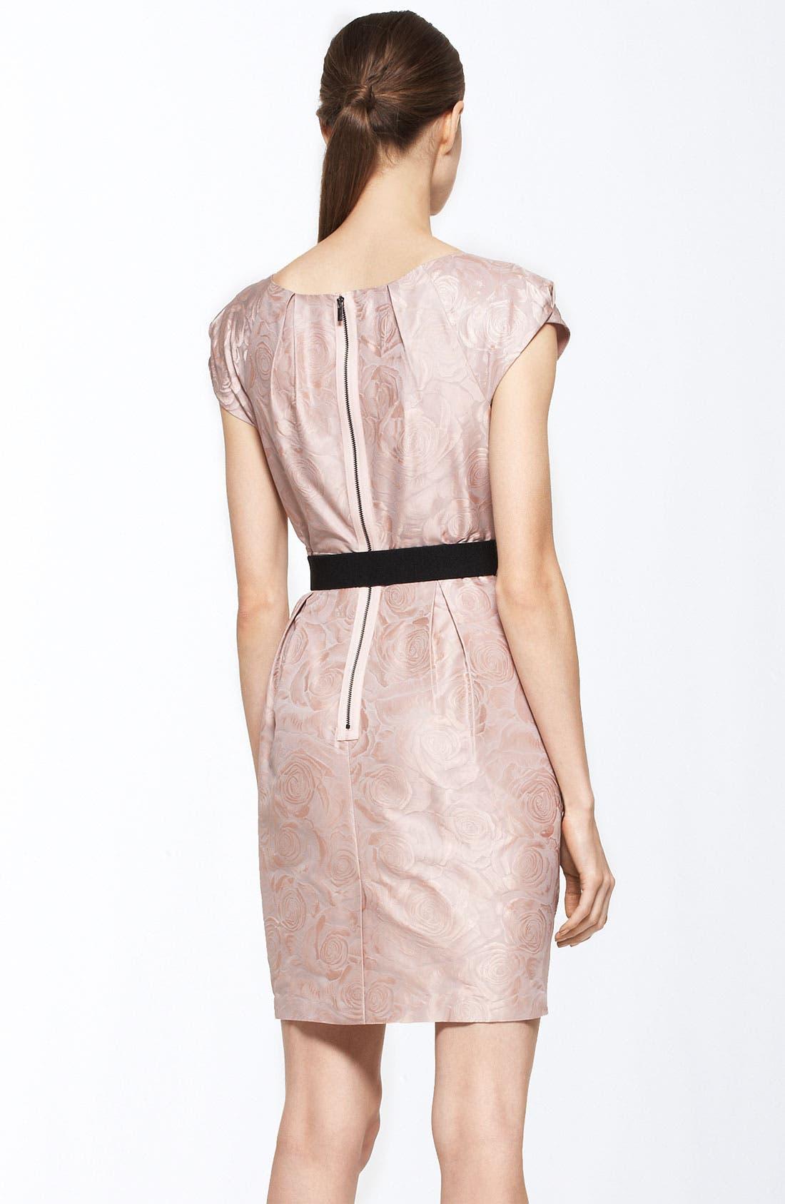 Alternate Image 2  - BCBGMAXAZRIA Belted Rose Jacquard Sheath Dress