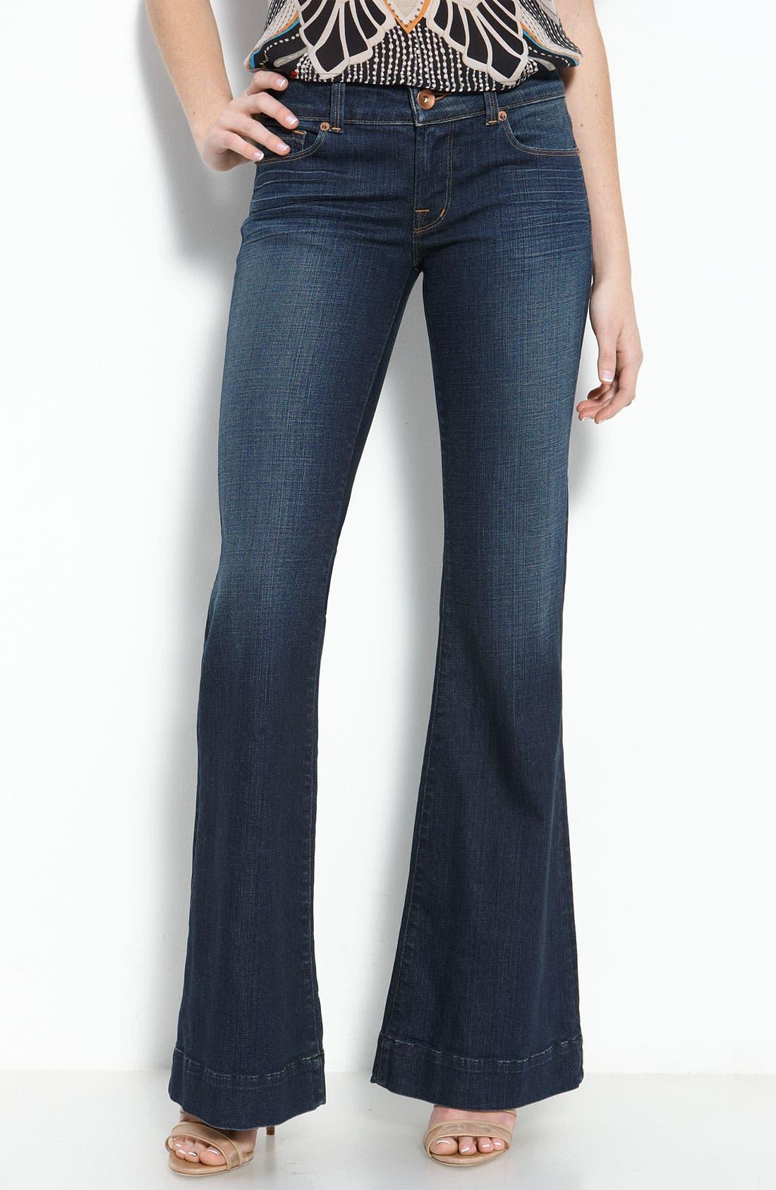 Alternate Image 2  - J Brand 'Lovestory' Low Rise Bell Bottom Stretch Jeans (Dark Vintage Wash)