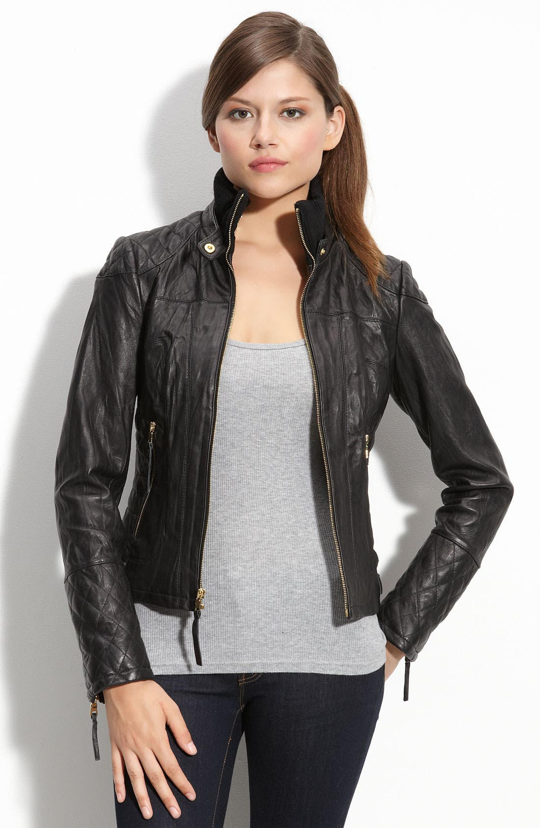Alternate Image 2  - bebe Quilted Lambskin Leather Jacket