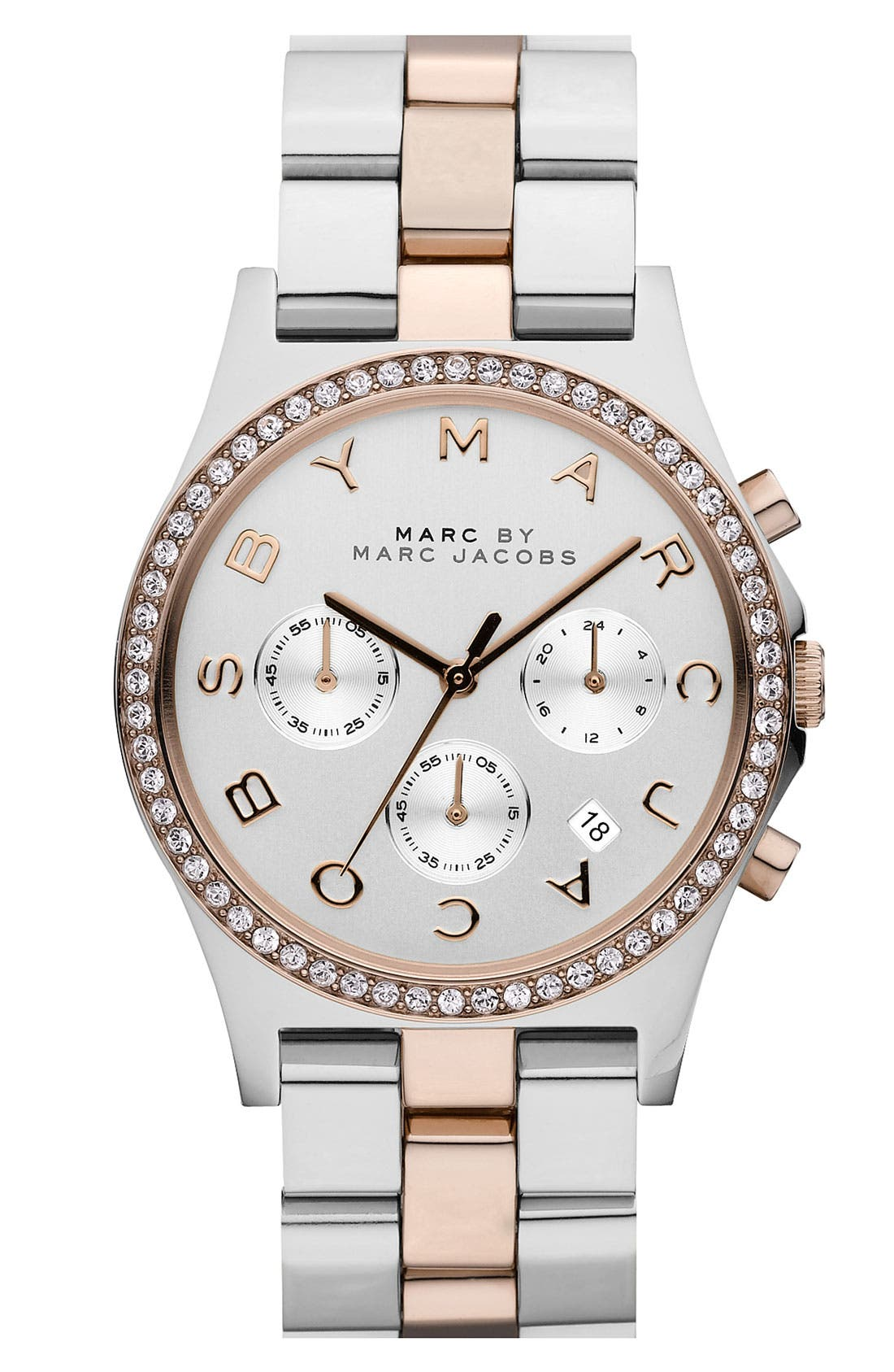 Alternate Image 1 Selected - MARC JACOBS 'Henry' Chronograph & Crystal Topring Watch, 40mm