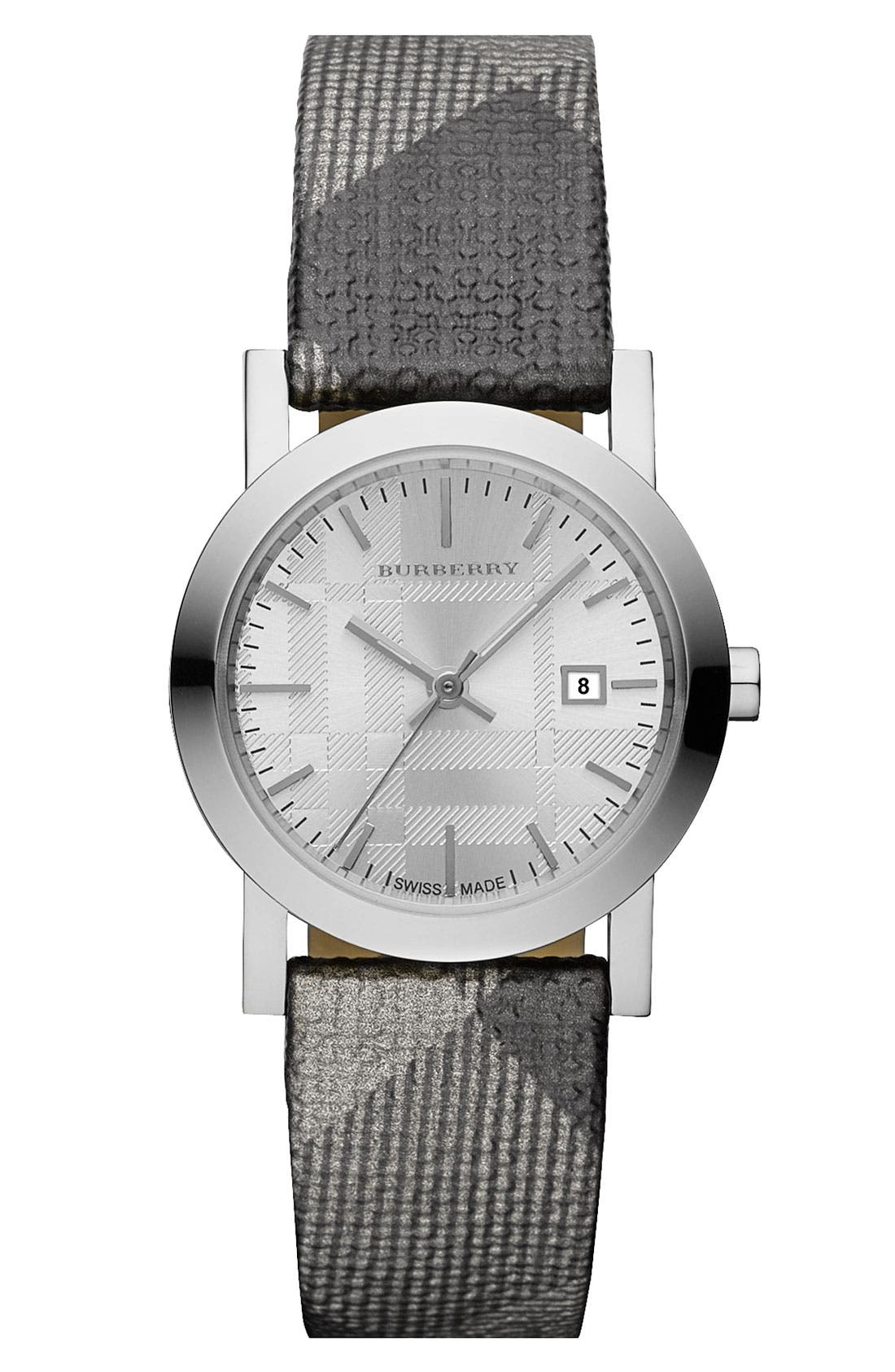 Main Image - Burberry Small Round Shimmer Check Strap Watch