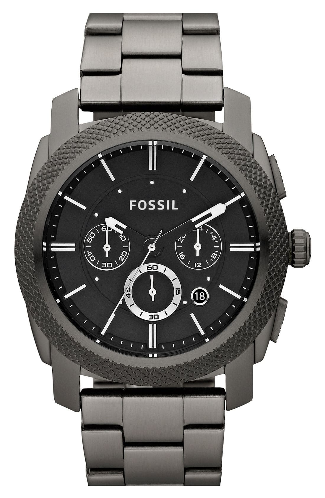 Alternate Image 1 Selected - Fossil 'Machine' Chronograph Bracelet Watch, 45mm