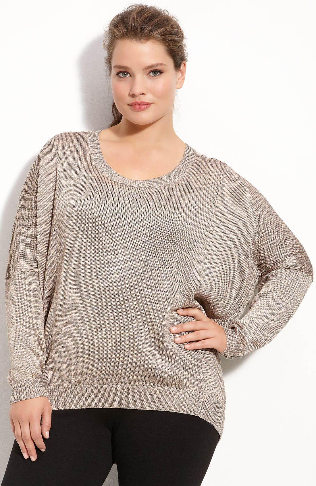 Alternate Image 1 Selected - Vince Camuto Dolman Sleeve Back Zip Sweater (Plus)