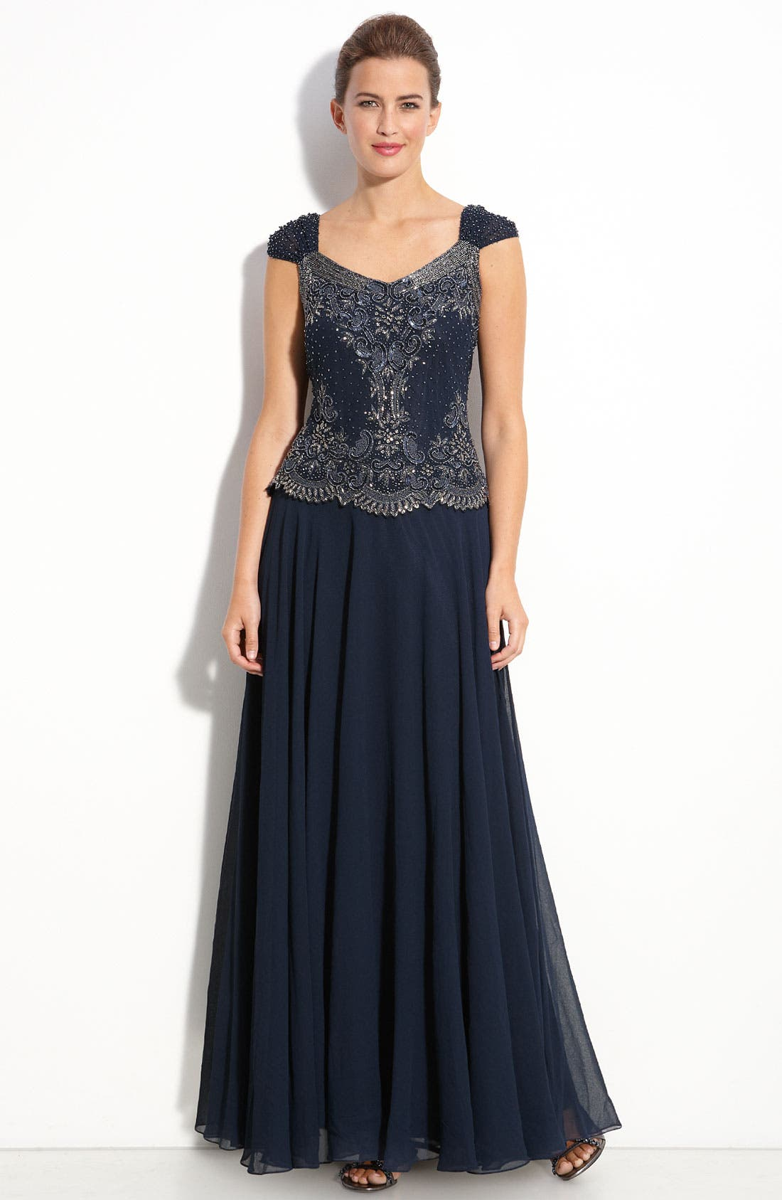 Alternate Image 1 Selected - J Kara Beaded Mock Two-Piece Chiffon Gown