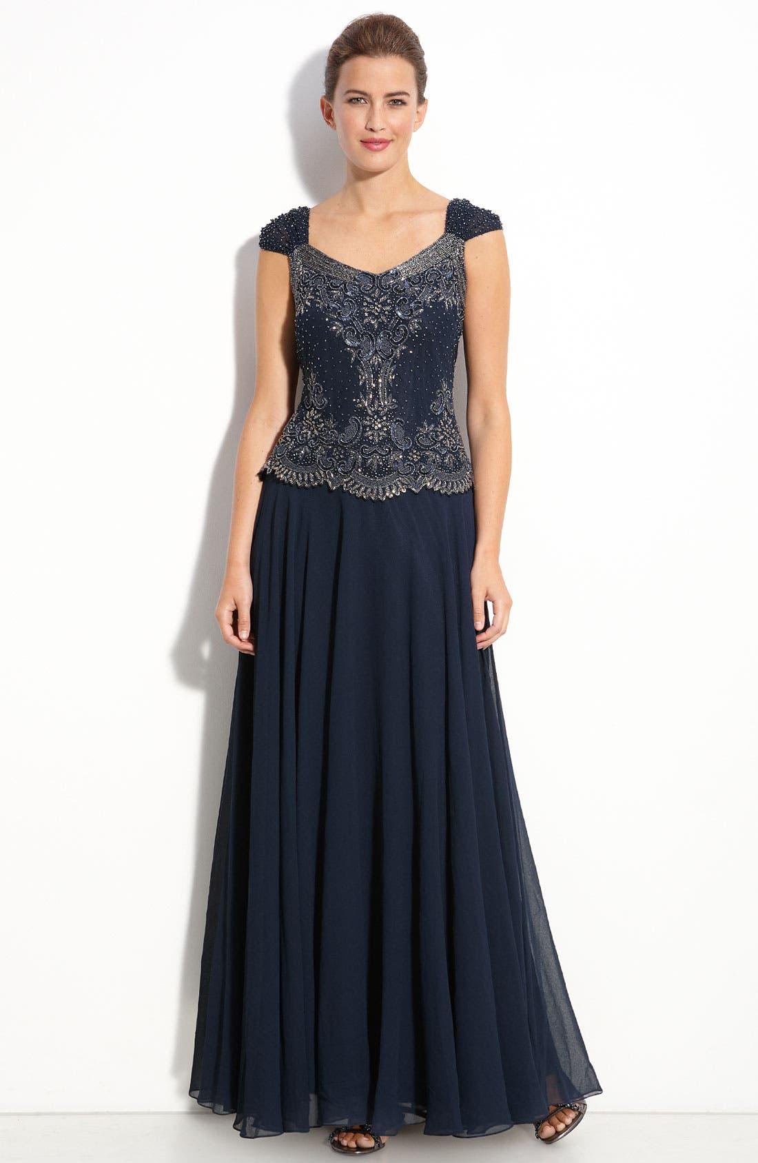 Main Image - J Kara Beaded Mock Two-Piece Chiffon Gown