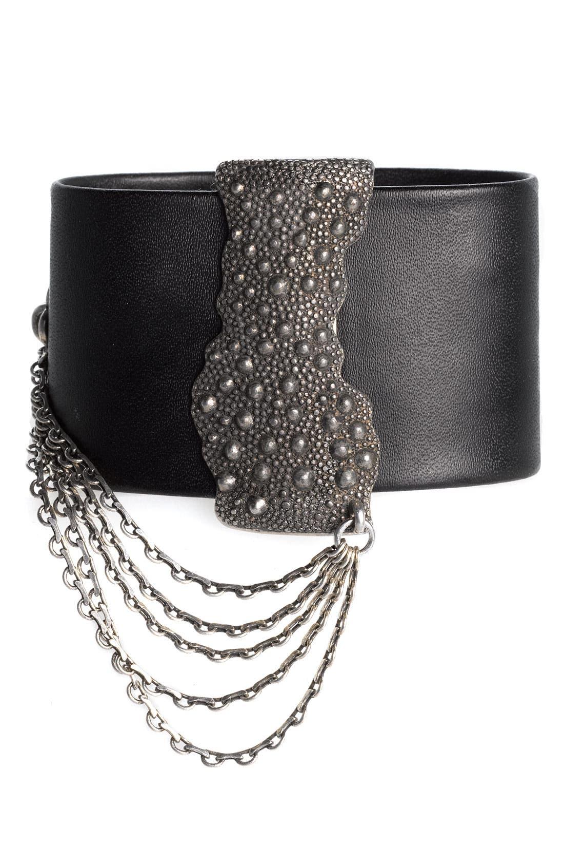 Main Image - Trouvé Magnetic Strip Leather Bracelet