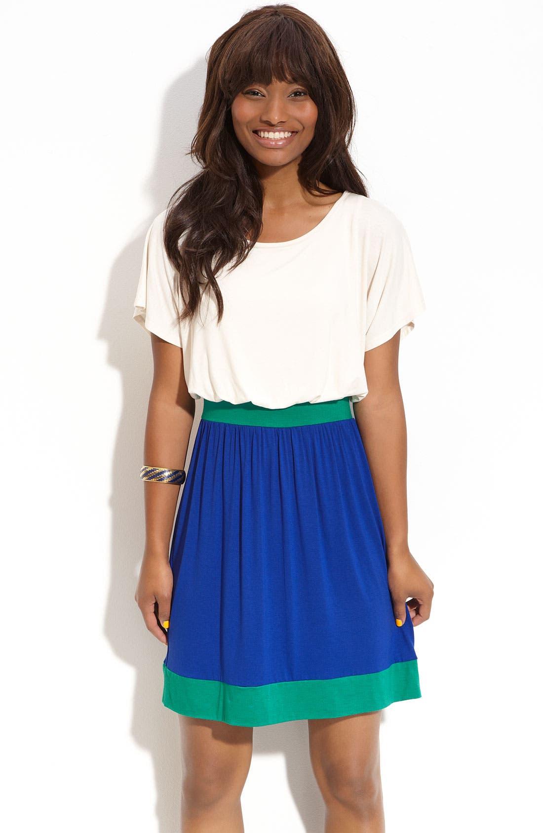 Main Image - Lush Open Back Colorblock Dress (Juniors)