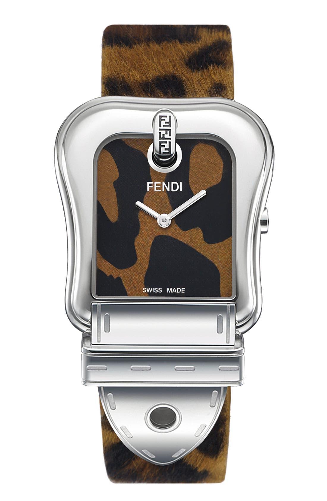 Alternate Image 1 Selected - Fendi 'B. Fendi' Large Animal Print Watch, 30mm x 36mm