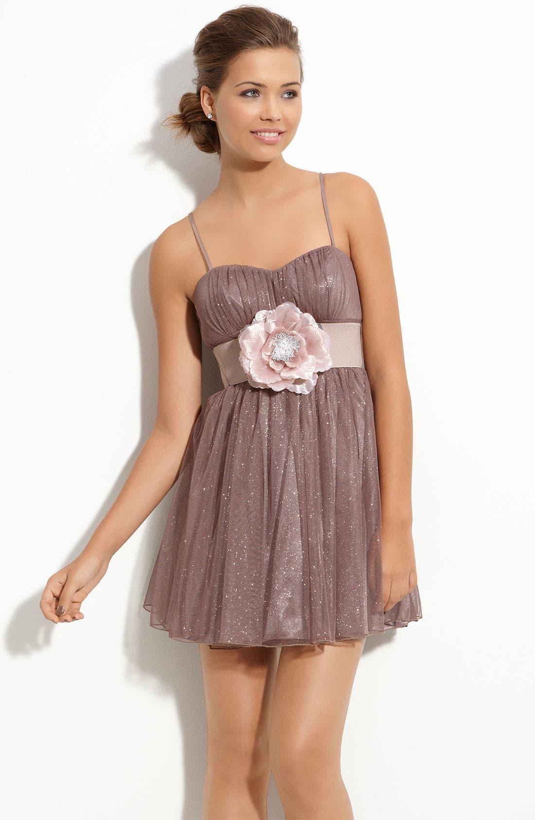 Main Image - Accidentally In Love Glitter Dress (Juniors)