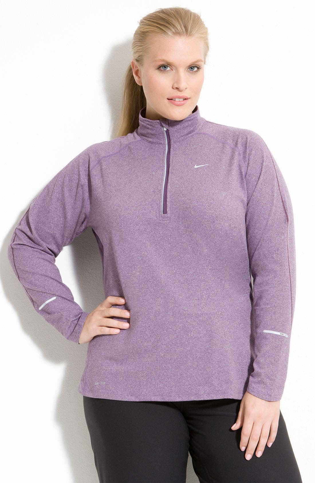 Alternate Image 1 Selected - Nike Half Zip Running Top (Plus)