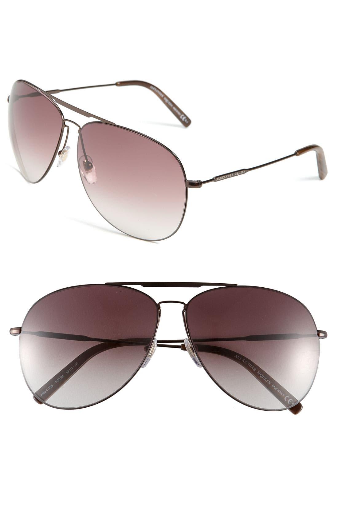 Alternate Image 1 Selected - Alexander McQueen Metal Aviator Sunglasses