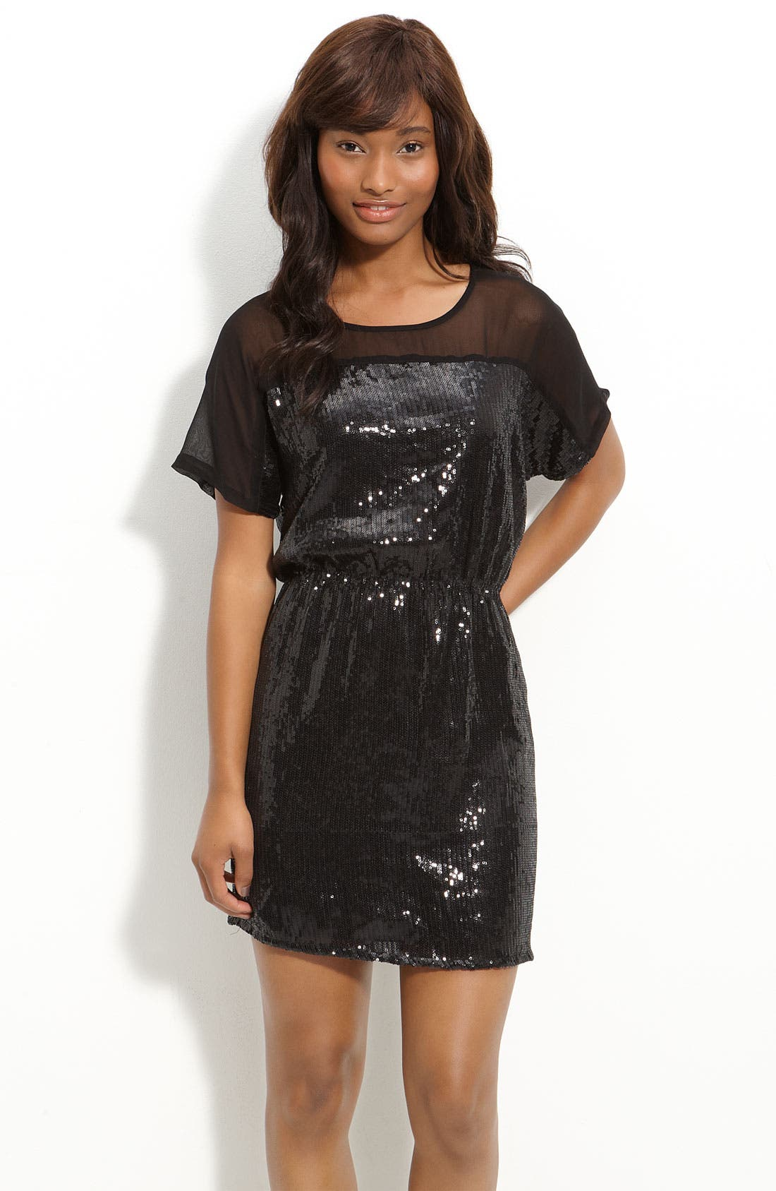 Main Image - Angie Sheer Yoke Sequin Dress