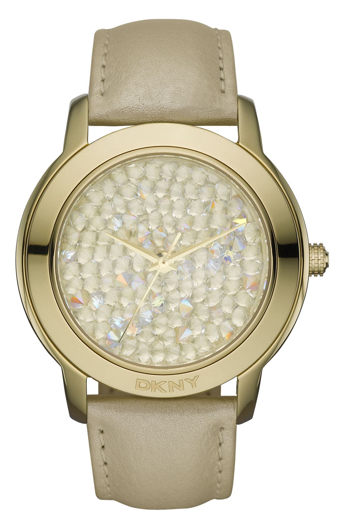 Alternate Image 1 Selected - DKNY 'Large Round Rocky' Metallic Strap Watch