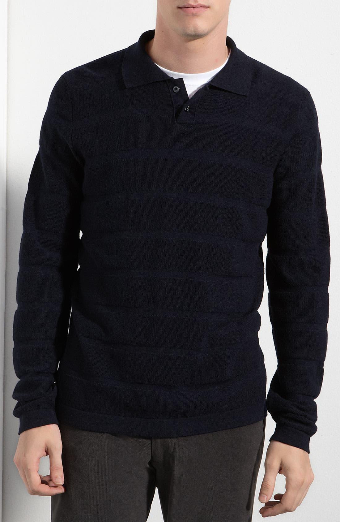 Main Image - Armani Collezioni Textured Stripe Polo