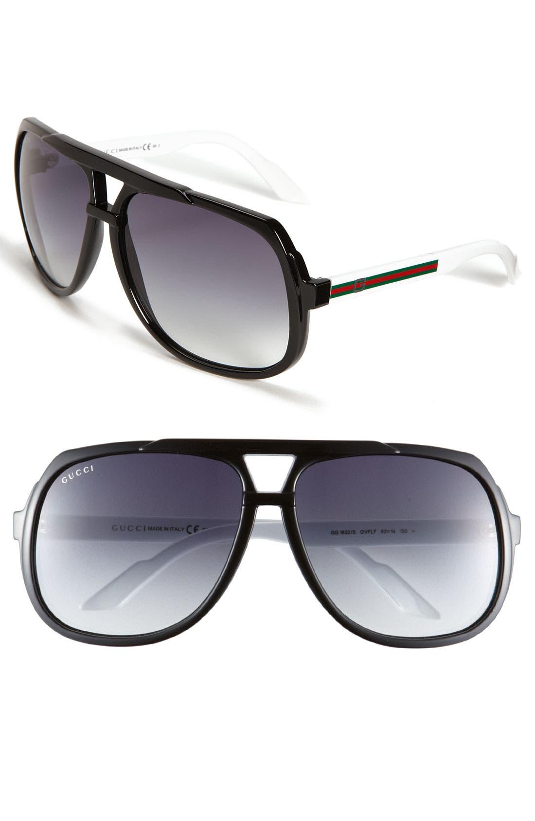 Alternate Image 1 Selected - Gucci Logo Temple 63mm Aviator Sunglasses