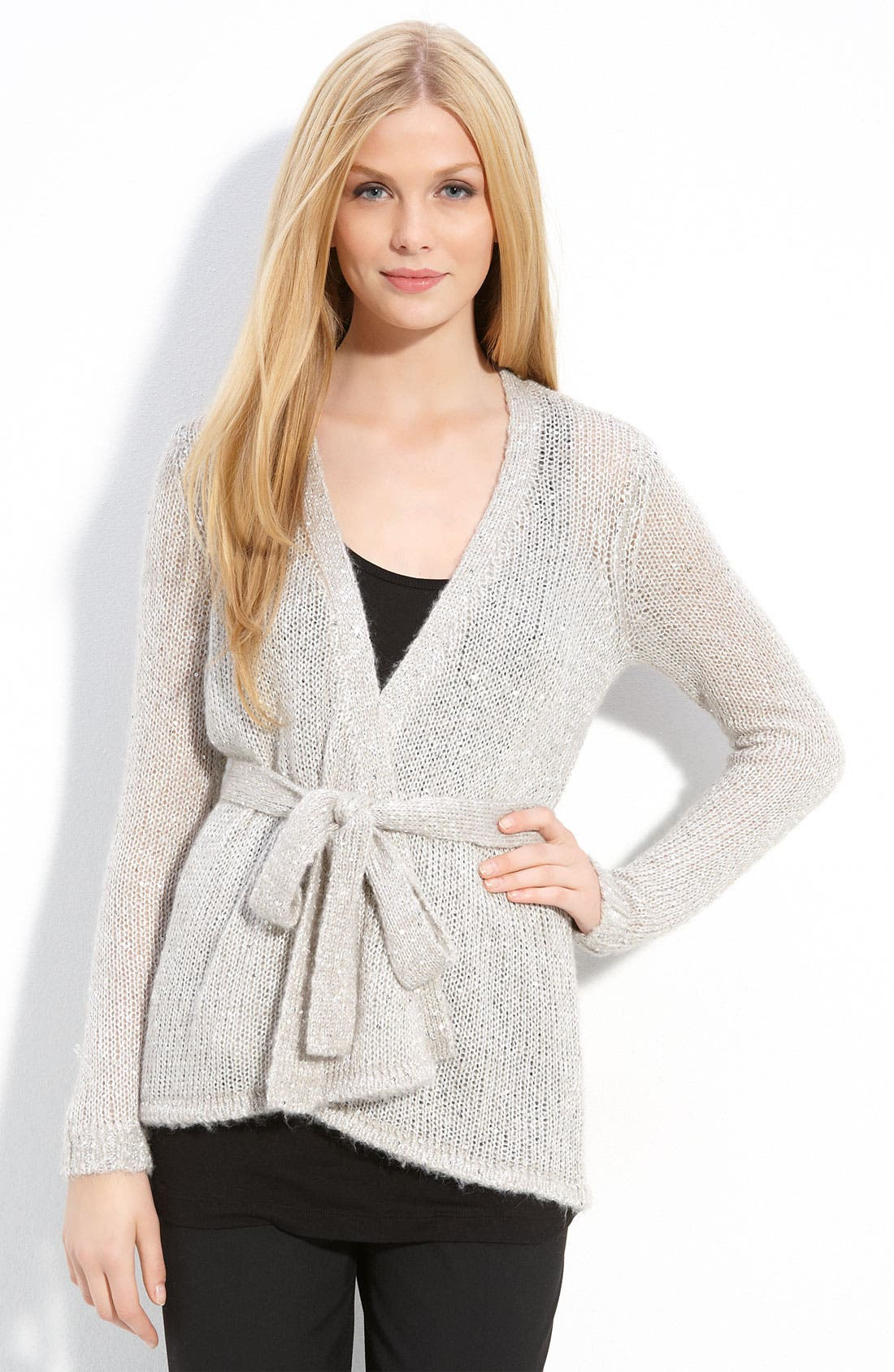 Main Image - One A 'Sparkle' Wrap Cardigan (Petite)
