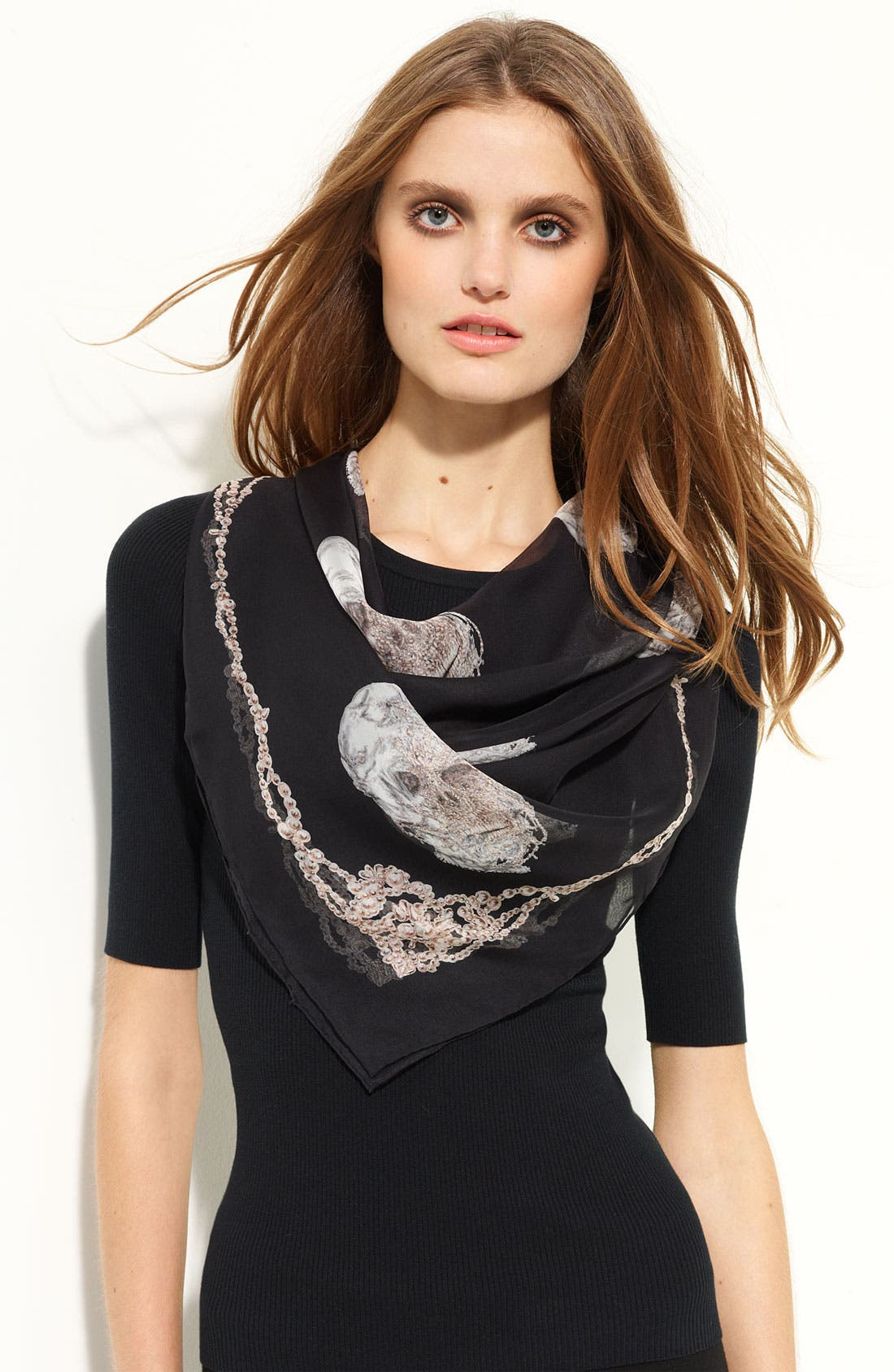 Alternate Image 1 Selected - Alexander McQueen 'Pearl' Silk Chiffon Scarf