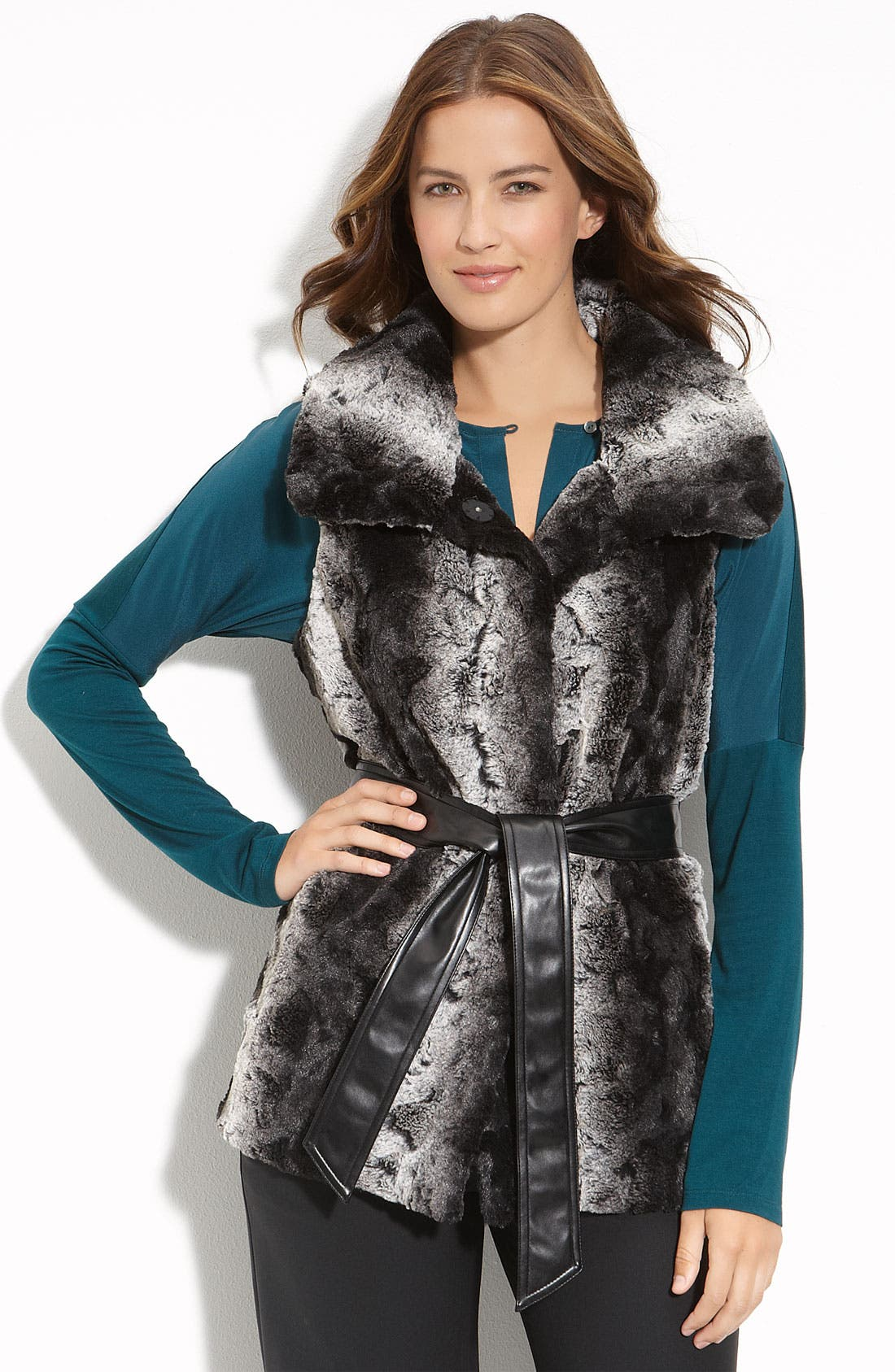 Main Image - Gallery Belted Faux Fur Vest