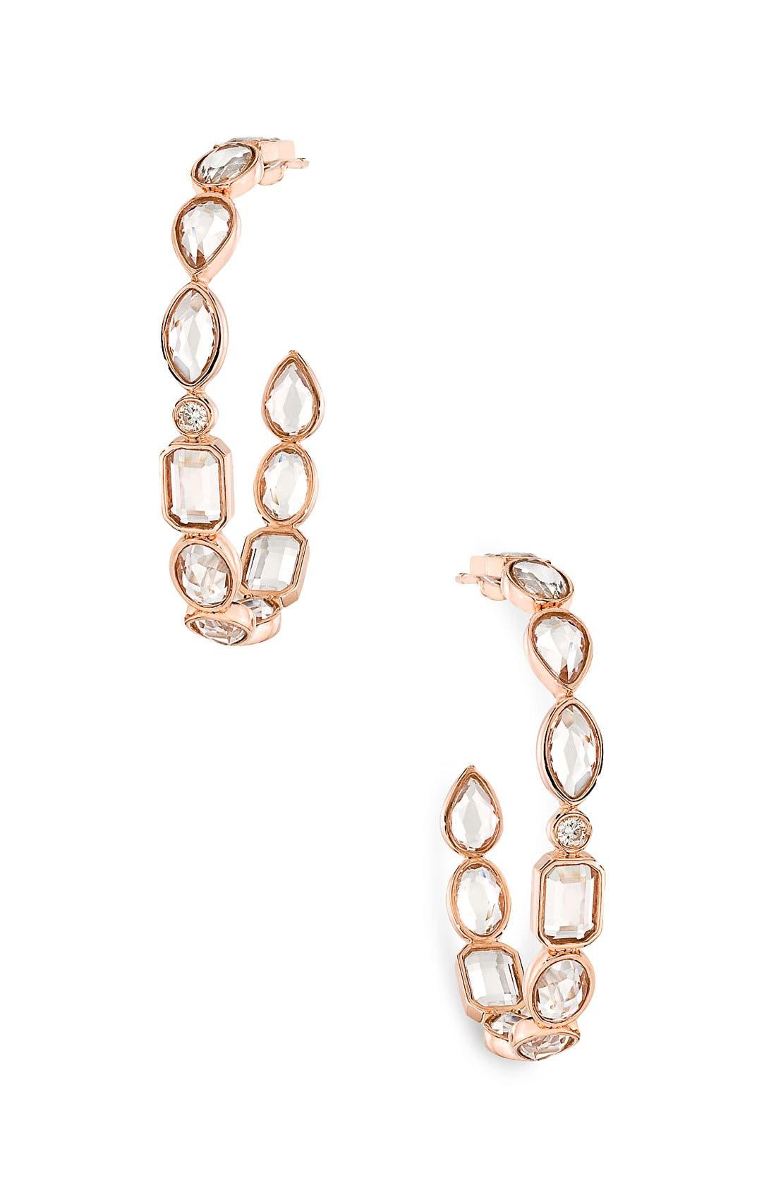 Main Image - Ivanka Trump 'Mixed Cut' Small Rock Crystal & Diamond Hoop Earrings