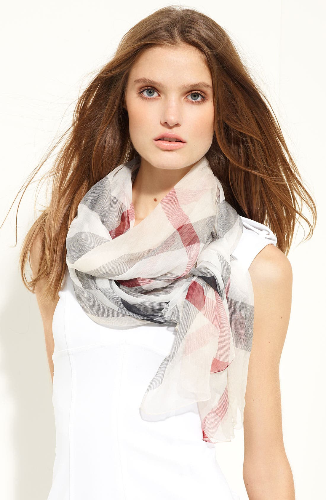 Main Image - Burberry Check Print Silk Crepon Scarf