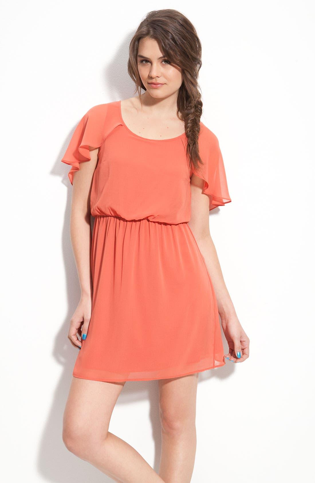 Main Image - Lush Cape Sleeve Chiffon Dress (Juniors)