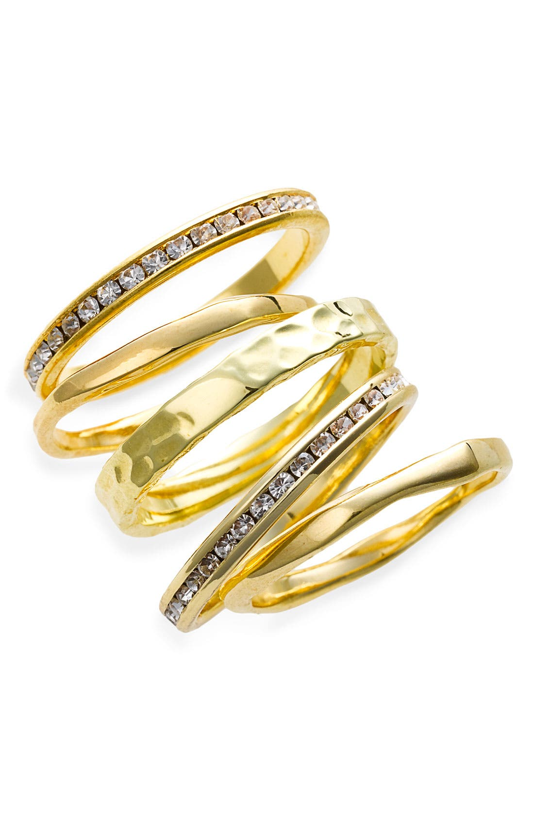 Main Image - Ariella Collection Slim Stackable Rings (Set of 5)