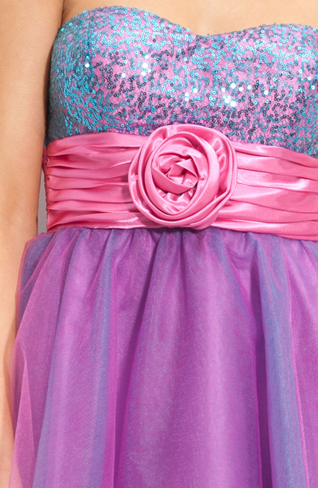 Alternate Image 3  - Accidentally In Love Strapless Sequin & Tulle Party Dress (Juniors)