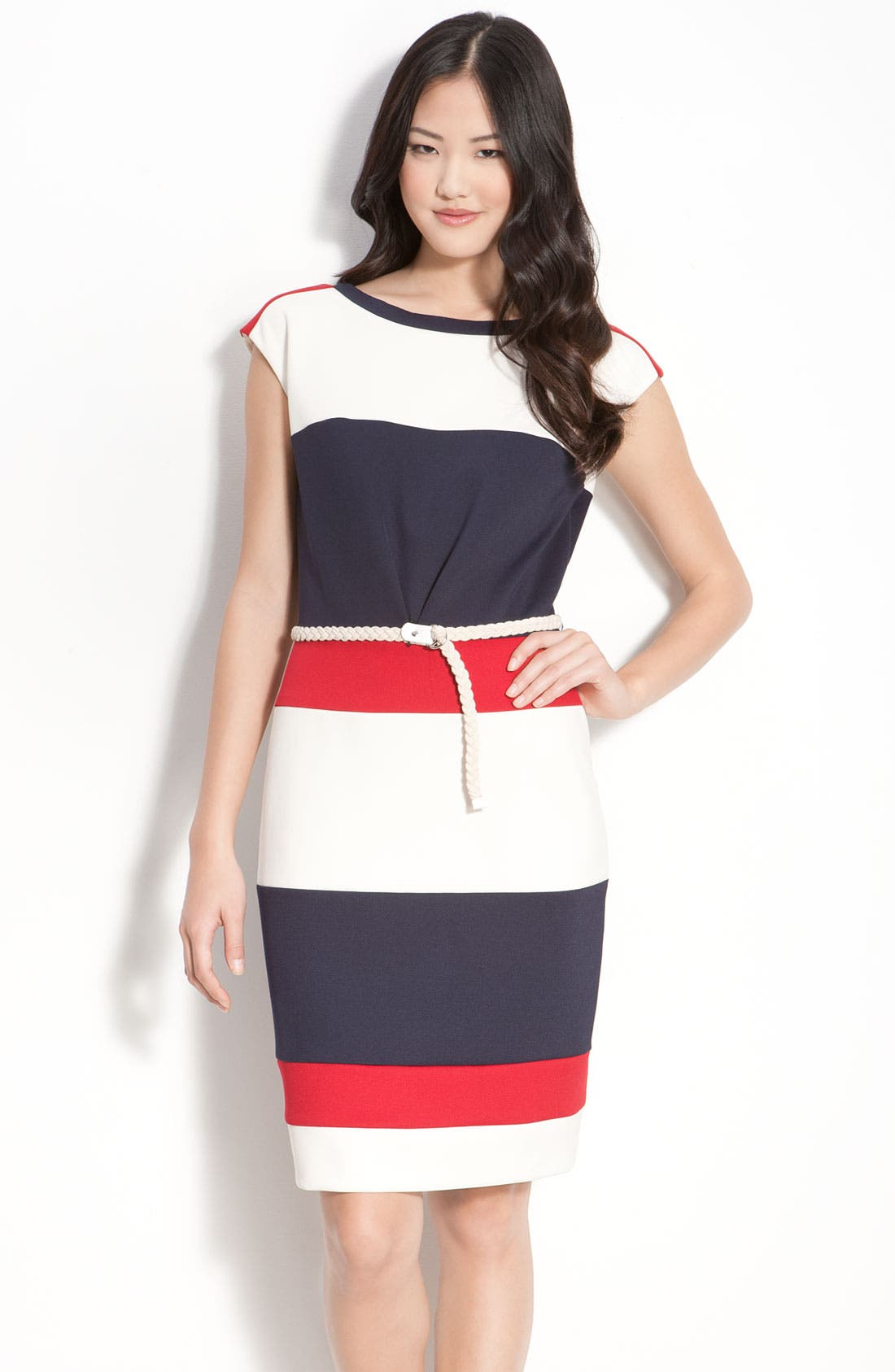 Main Image - Maggy London Techno Stretch Colorblock Jersey Sheath Dress