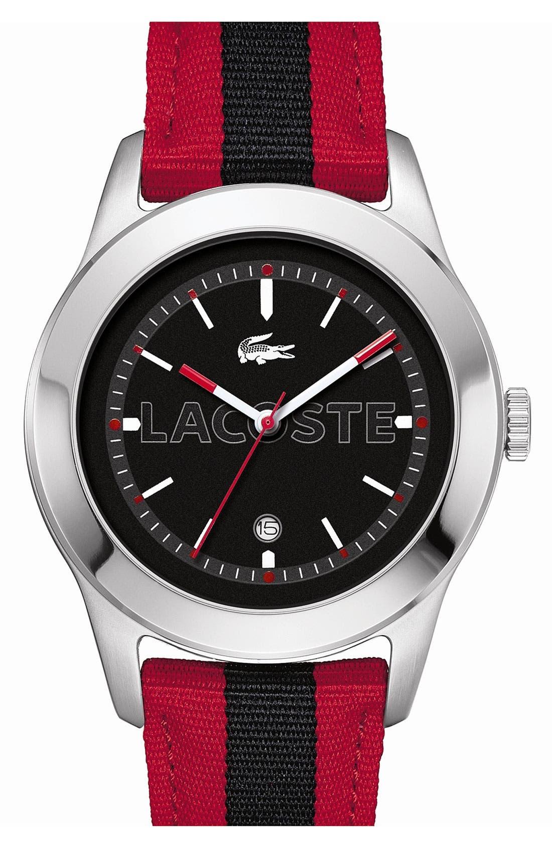 Alternate Image 1 Selected - Lacoste 'Advantage' Grosgrain Strap Watch, 42mm