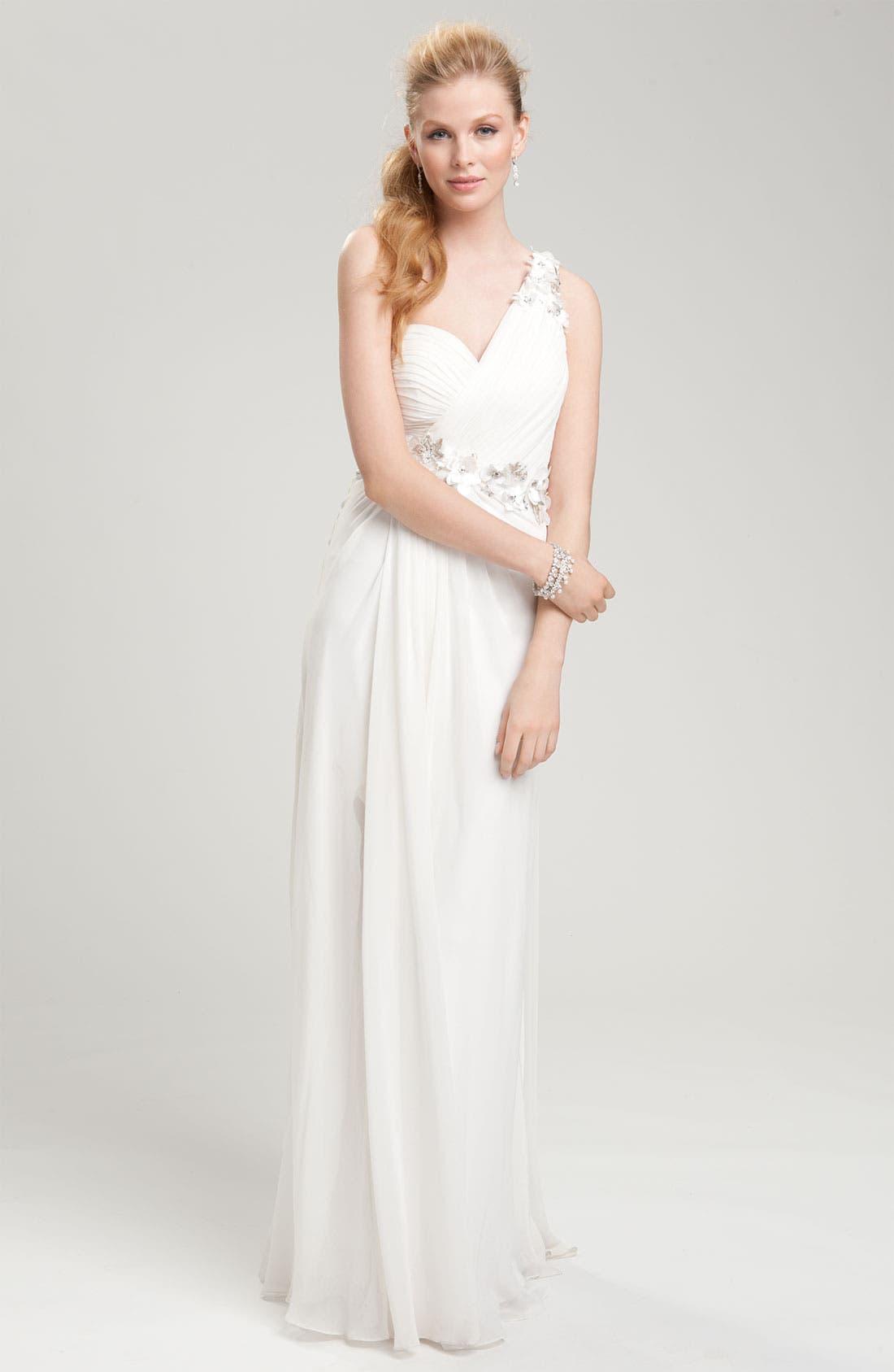 Alternate Image 3  - Faviana Flower Embellished One Shoulder Chiffon Gown
