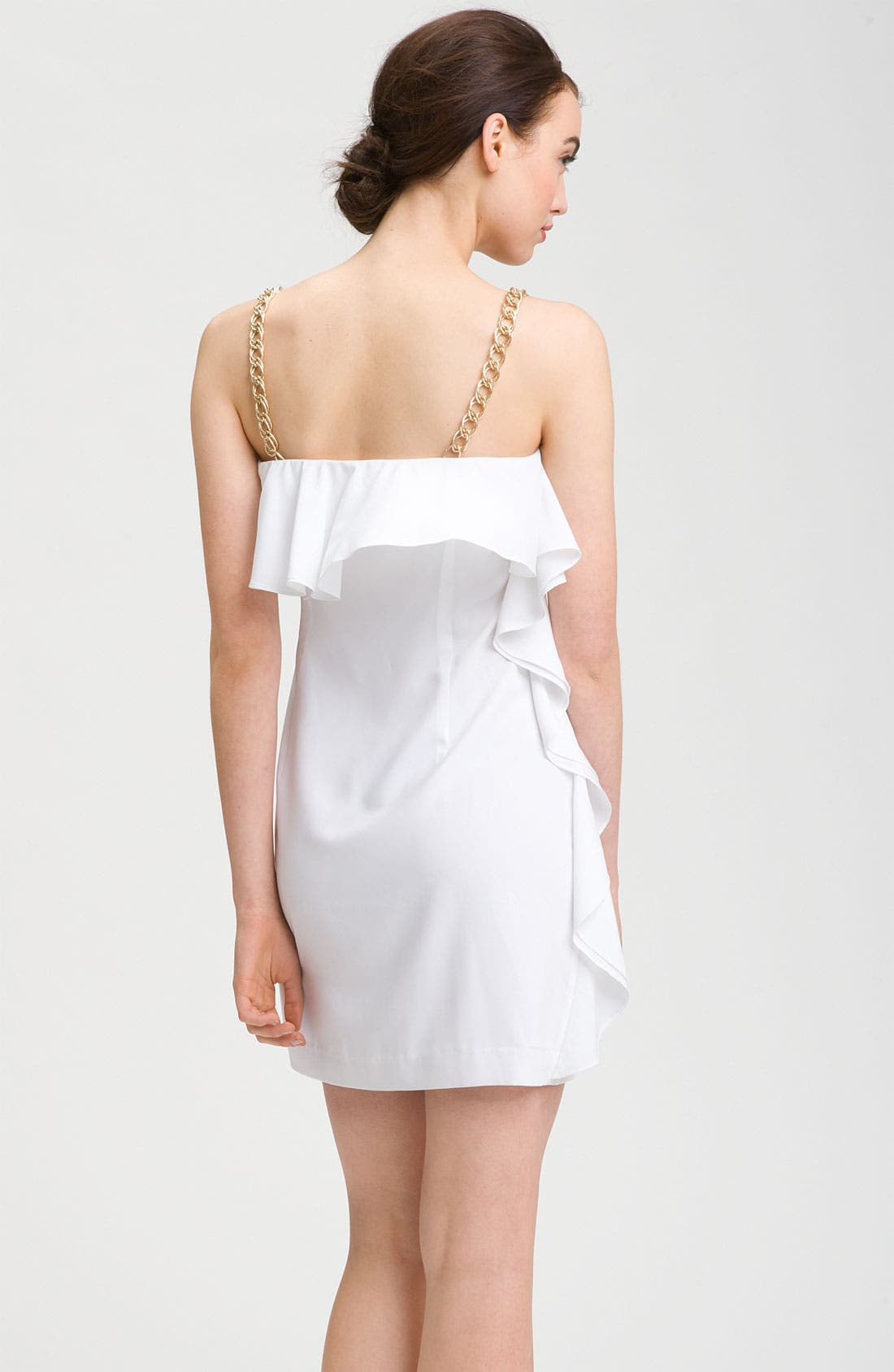 Alternate Image 2  - Calvin Klein Chain Strap Ruffle Cocktail Dress