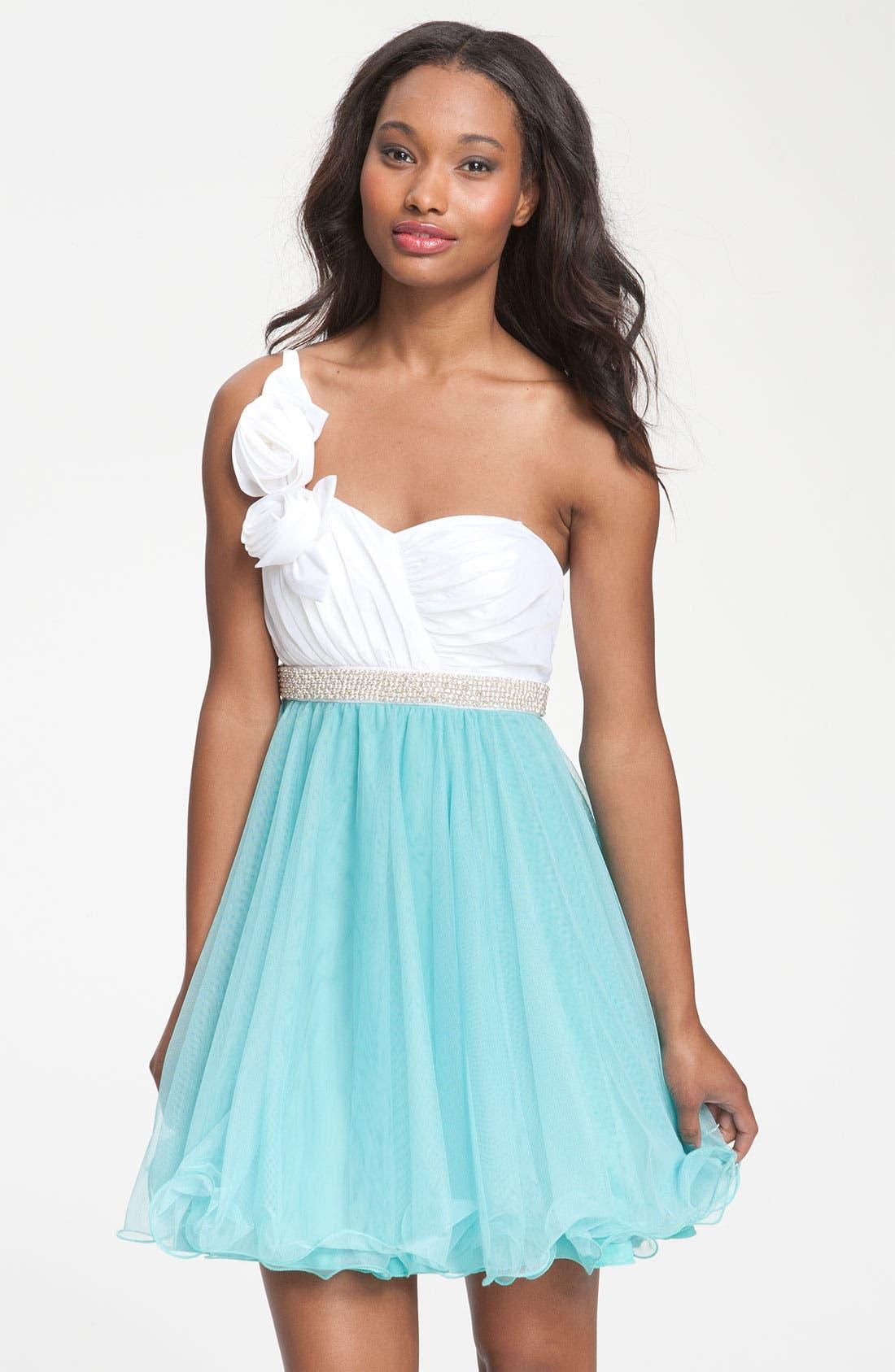 Alternate Image 1 Selected - Way-In One Shoulder Rosette Colorblock Dress (Juniors)