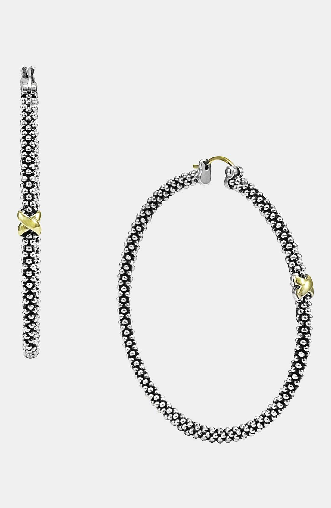 Alternate Image 1 Selected - LAGOS 'X' Large Caviar Hoop Earrings