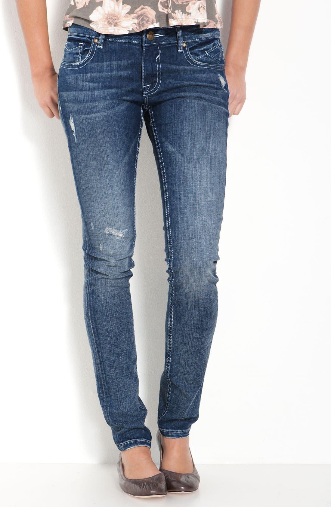 Alternate Image 2  - Vigoss 'Double V' Skinny Stretch Jeans (Juniors)