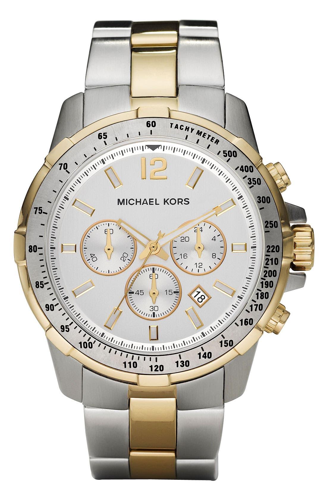 Main Image - Michael Kors 'Grayson' Round Chronograph Bracelet Watch