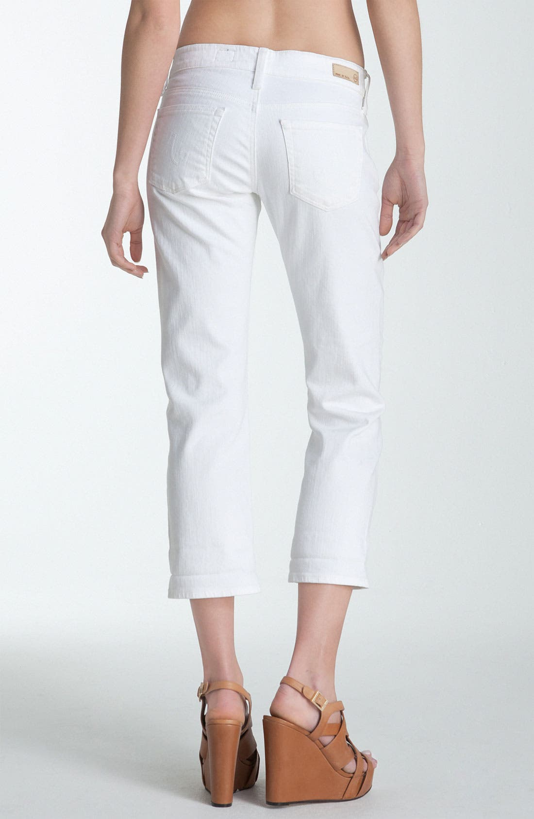 Alternate Image 1 Selected - AG Jeans 'Tomboy' Crop Jeans (White)