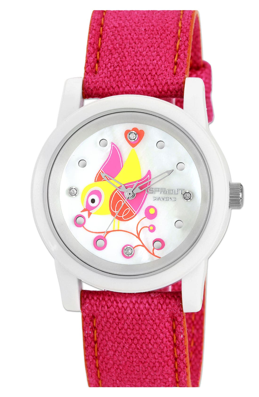 Alternate Image 1 Selected - SPROUT™ Watches Bird Dial Organic Cotton Strap Watch, 38mm