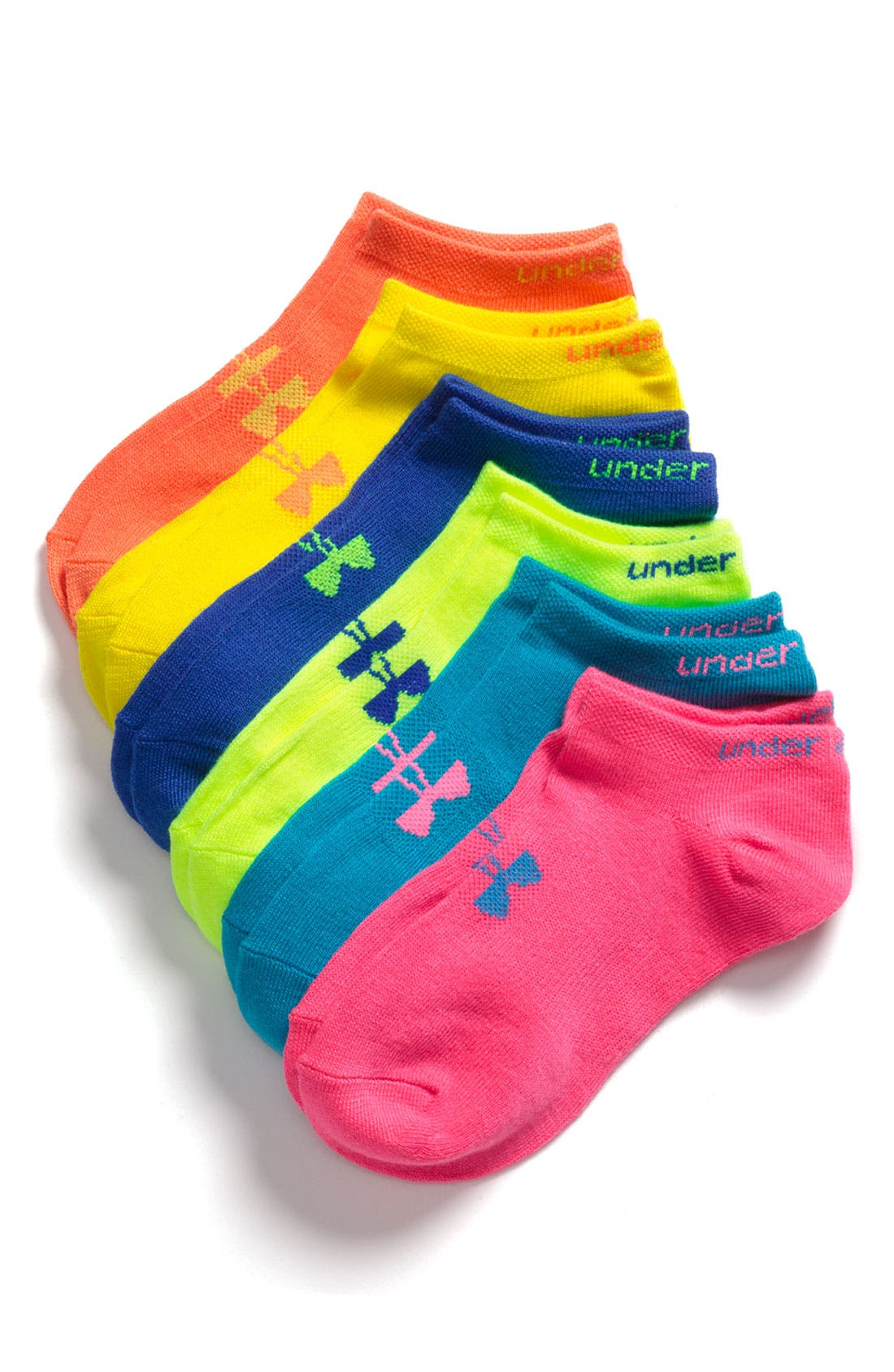 Alternate Image 1 Selected - Under Armour No-Show Socks (6-Pack)(Big Girls)