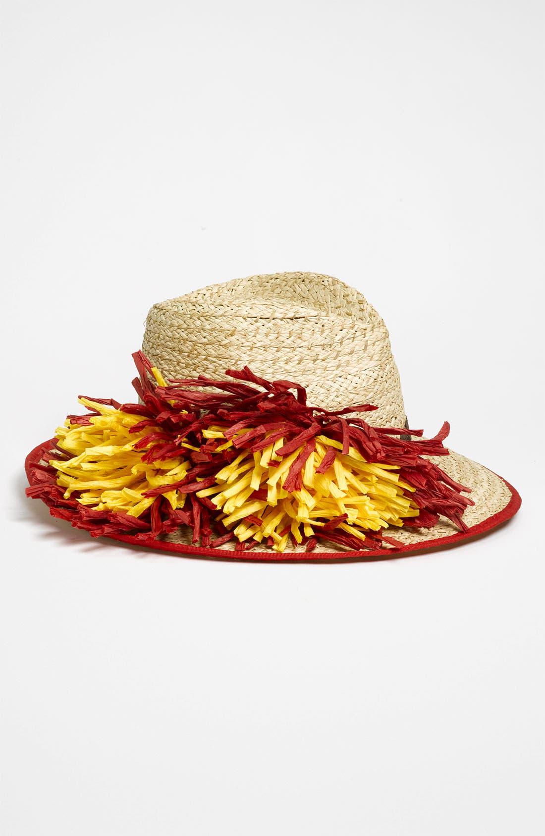 Alternate Image 1 Selected - Betsey Johnson 'Flower' Straw Fedora