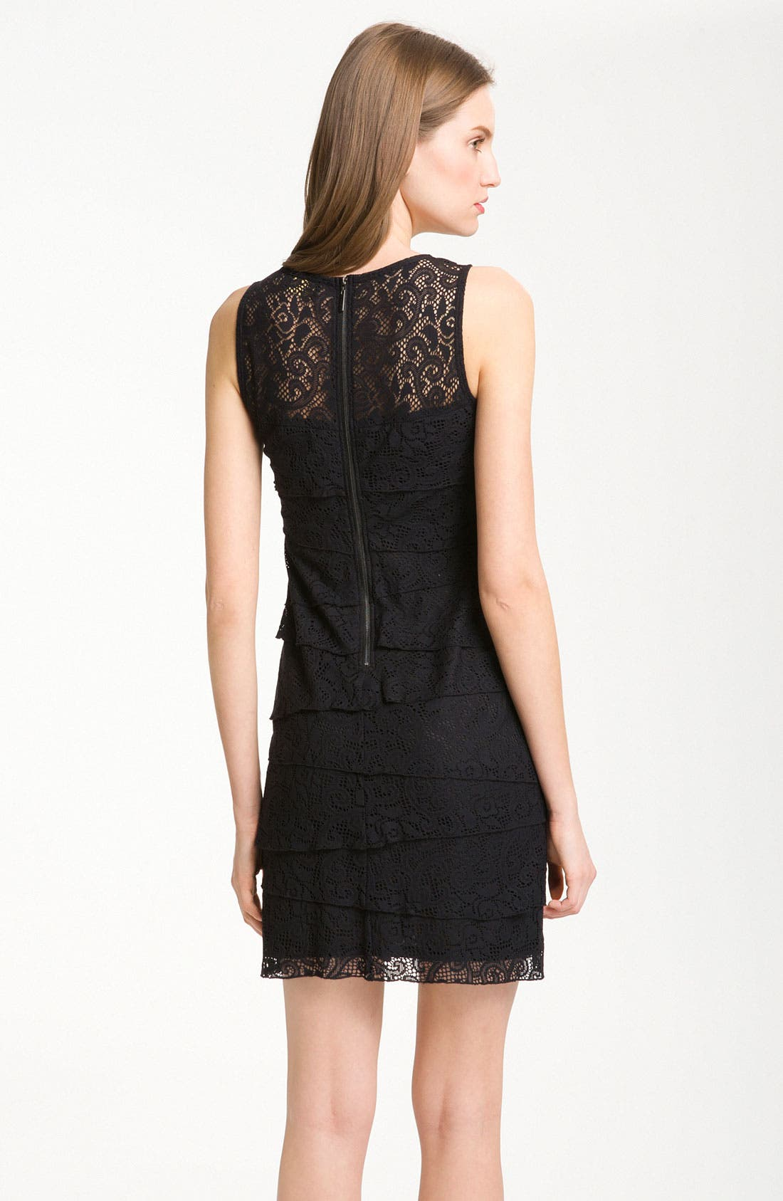 Alternate Image 2  - Laundry by Shelli Segal Tiered Lace Sleeveless Minidress