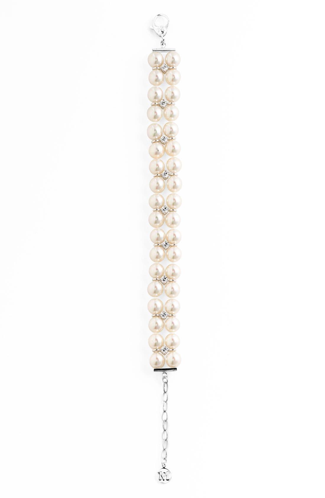 Alternate Image 2  - Majorica Double Row Pearl & Cubic Zirconia Bracelet