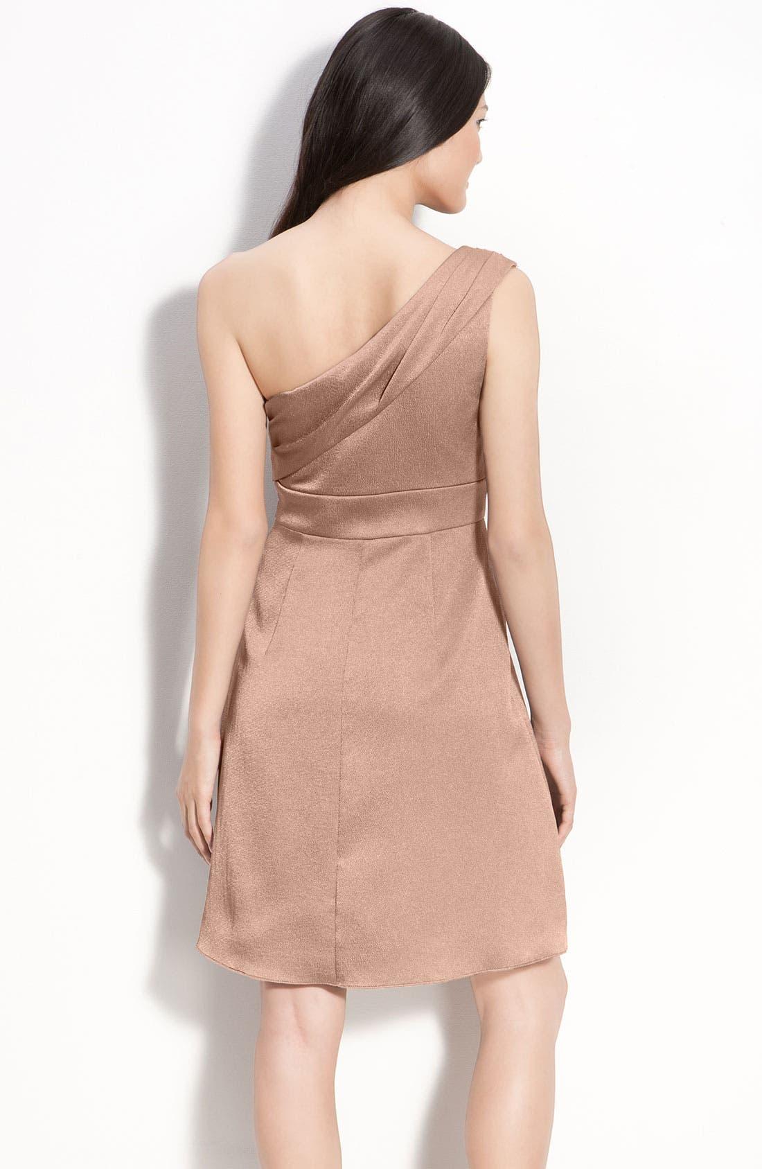 Alternate Image 2  - Jenny Yoo Hammered Satin One Shoulder Dress
