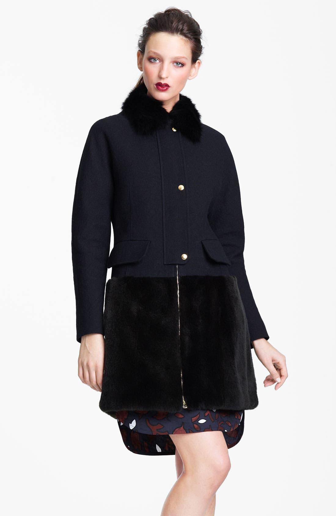 Main Image - Marni Edition Fox Collar & Ferret Hem Coat