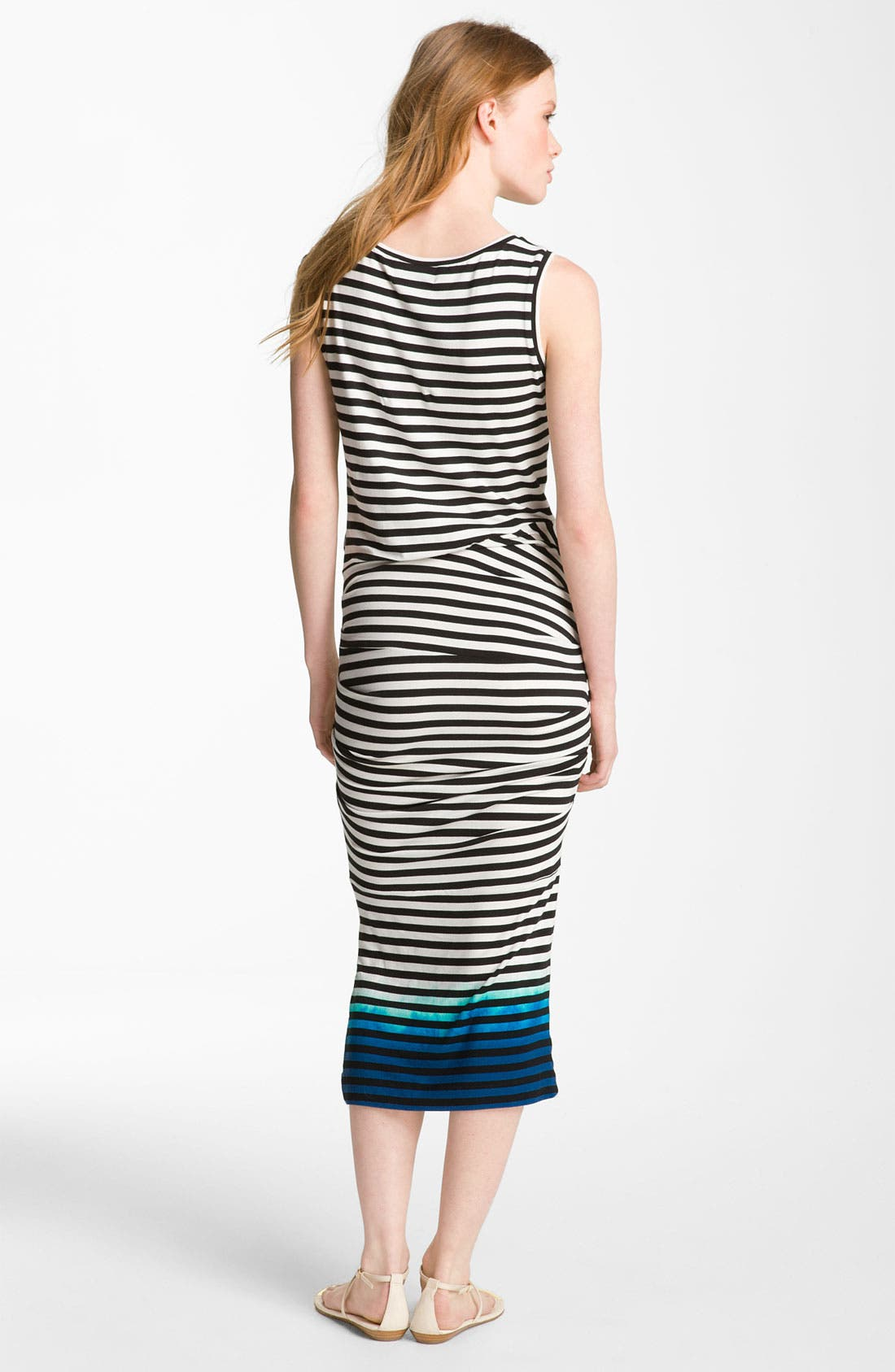 Alternate Image 2  - Nicole Miller Asymmetrical Ruched Midi Dress