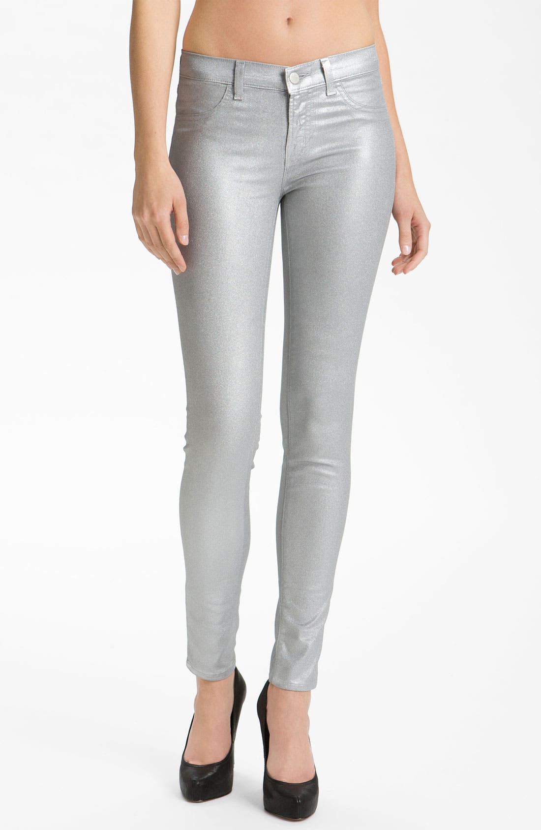 Main Image - J Brand Stretch Denim Leggings (Coated Silver Sparkle)