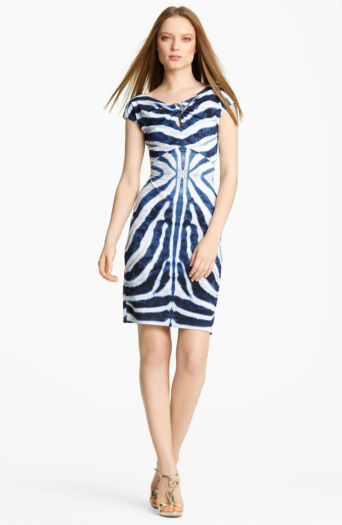 Main Image - Roberto Cavalli Twist Neck Jersey Dress
