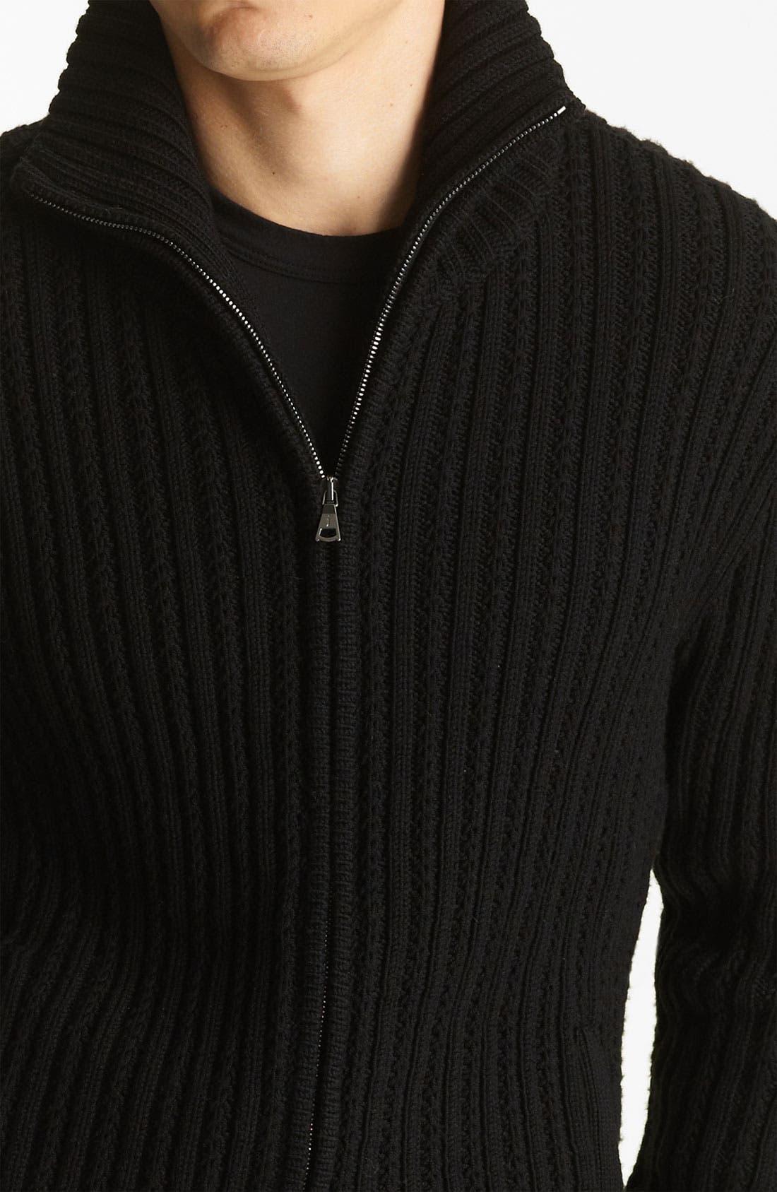 Alternate Image 3  - John Varvatos Collection Zip Knit Sweater