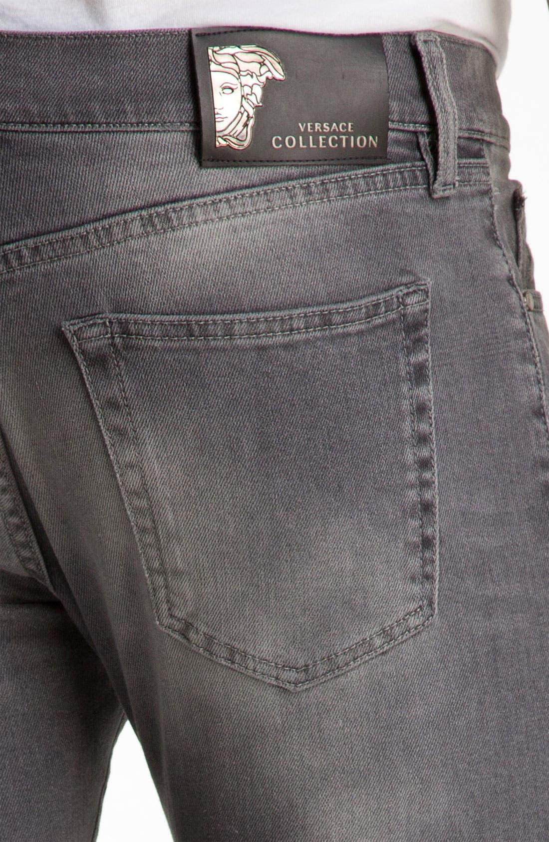 Alternate Image 4  - Versace Slim Straight Jeans (Grey)